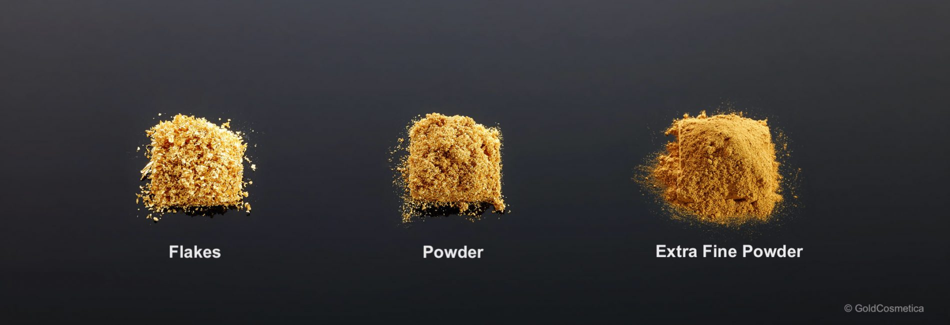 Gold flakes, powder and extra fine powder
