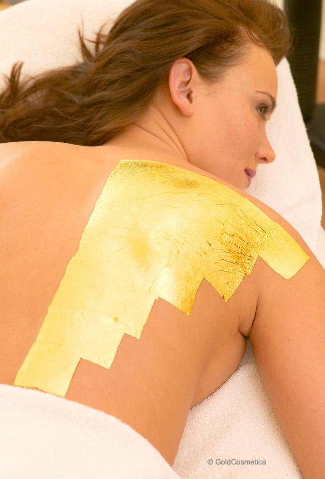 Body Treatment with cosmetic gold leaf