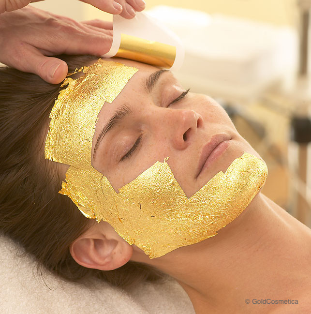 facial treatment with gold leaf