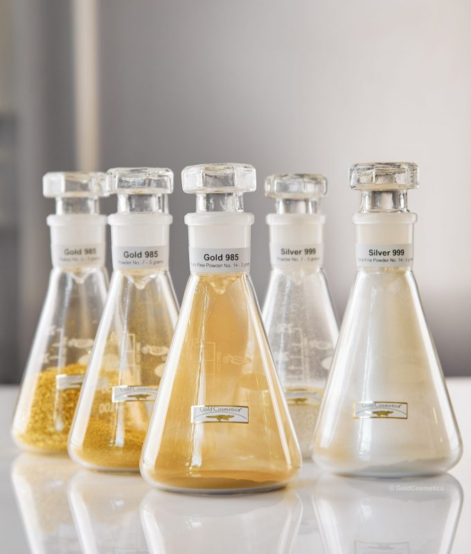 Cosmetic gold, silver and platinum for skin care products